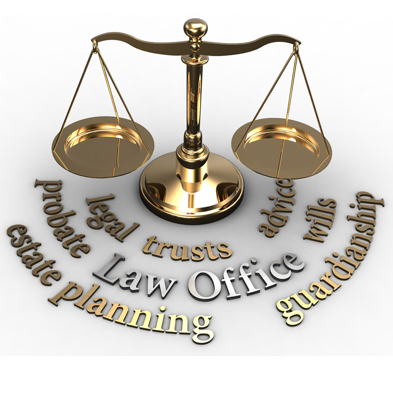 A golden law balancing scale from Oakland County Probate Court with legal words underneath.