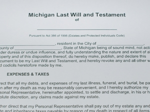 Paper copy of a legal document that's titled Michigan Last Will and Testament