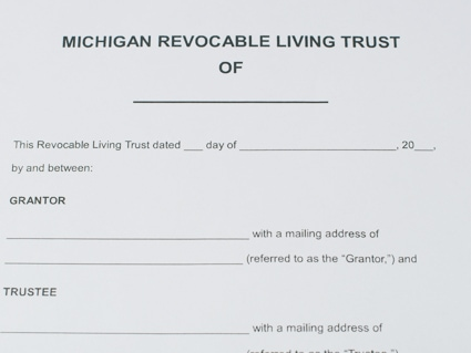 Paper copy of a legal document that's titled Michigan Revocable Living Trust