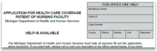 The top of an application for nursing home medicaid from the Michigan Department of Health and Human Services.