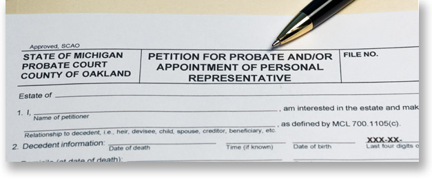 The top of a Michigan probate court form titled petition for probate and/or appointment of personal representative