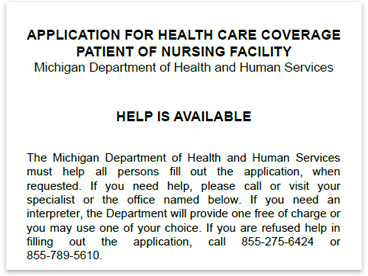 Top portion of an application for nursing home medicaid from the Michigan Department of Health and Human Services