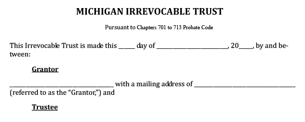 Blank example of a Michigan irrevocable trust form to give an idea of what a special needs trust entails