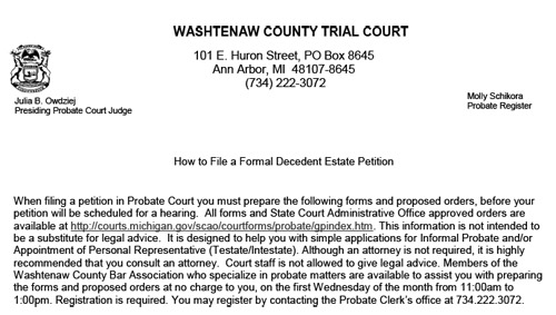 PDF form giving instructions on how to file a formal decedent estate petition in the Washtenaw County Probate Court.