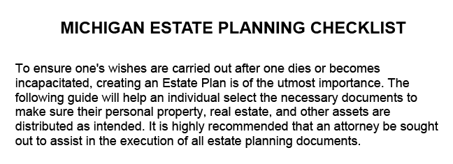 PDF outline of a Michigan estate planning checklist